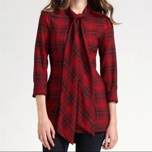 ALICE + OLIVIA red dawn plaid tunic w/ neck tie
